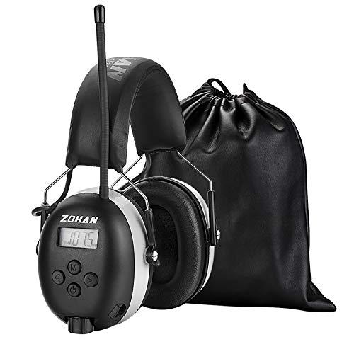 [Verbesserte] ZOHAN 042 Gehörschutz mit Radio FM/AM, MP3-kompatibel Geräuschminderung Ohrenschützer für Industrie, BAU und Mähen, SNR 30dB MEHRWEG (Grau)