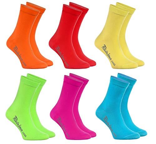 Rainbow Socks - Jungen und Mädchen Bunt Socken Baumwolle - 6 Paar Multipack - Orange Rot Gelb Blau Grun Rosa - Größen 30-35