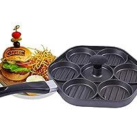 ノンスティックぬいぐるみハンバーガーパティメーカープレスキットぬいぐるみバーガーパティバーガーマスター7-in-1革新的なバーガープレス、7パティ、黒
