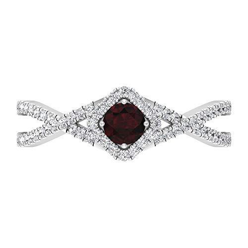 Rosec Jewels 14 quilates oro blanco redonda round-brilliant-shape H-I Red Diamond Garnet