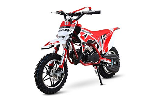 Whisper 49cc Dirtbike 10/10 Bereifung 3- Stufen Drossel Dirtbike Pocketbike Crossbike (Rot)