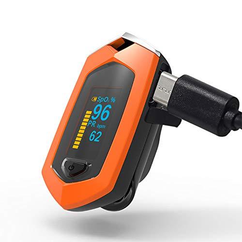 Pulsioxímetro De Dedo Monitor De Saturación De Oxígeno En Sangre (para Frecuencia del Pulso) Monitor De Frecuencia Cardíaca Y Nivel De Spo2 Batería De Litio Incorporada Carga USB,Naranja
