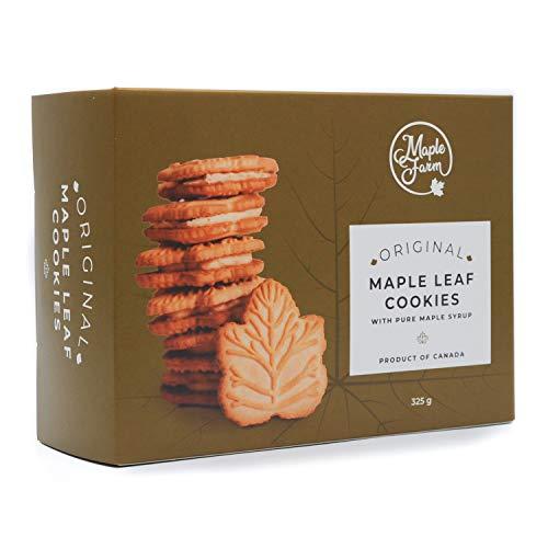 MapleFarm - Galletas al jarábe de maple – Maple leaf cookies – Producido en Canadá – 325grs