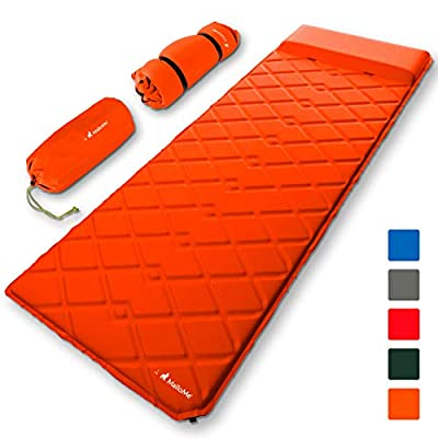 MalloMe Sleeping Pad Camping Air Mattress – Inflating Mat Bed for Backpacking Adults – Inflatable Ultralight Insulated Soft Foam Sleep Gear - Lightweight Travel Cot Roll Mats Accessories Orange