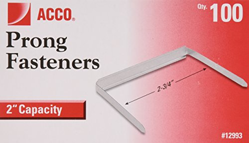 ACCO Brands 2 Inch Capacity Prong Fastener Bases, 2-3/4 Inch Centers, 100 Bases/Box (A7012993H)