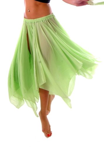 BELLY DANCE ACCESSORIES 13 PANEL CHIFFON SKIRT - LIME GREEN