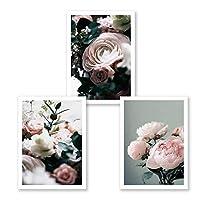牡丹花のキャンバス絵画ギャラリー花の壁アート現代のポスターリビングルームのインテリアの北欧の写真を印刷する家の装飾40x60cmx3フレームなし