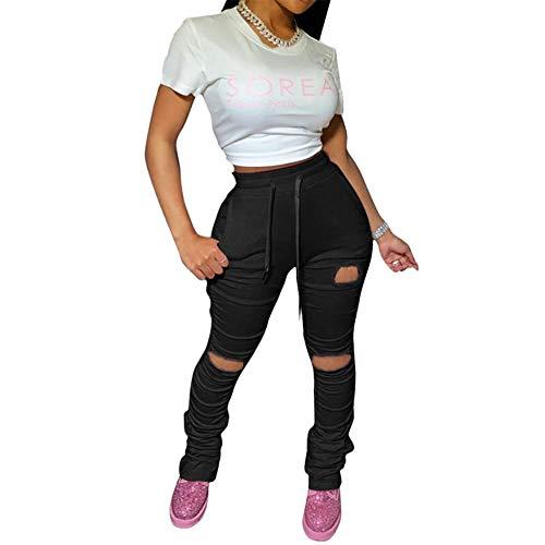 Beafeimei Damen-Leggings, gestapelt, gerissenes Loch, mit Kordelzug, für Joggen / Yoga / Sport, mit Taschen - Schwarz - Mittel
