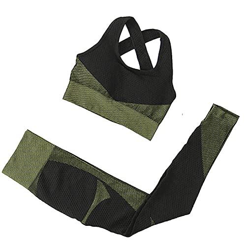 qqff Leggings Yoga Mujeres Gym Mallas Pantalones Elásticos,Conjunto Sujetador Yoga Mujer,Leggings Chaleco Piezas,Color Hueso,Gimnasio Fitness Yoga Traje Entrenamiento