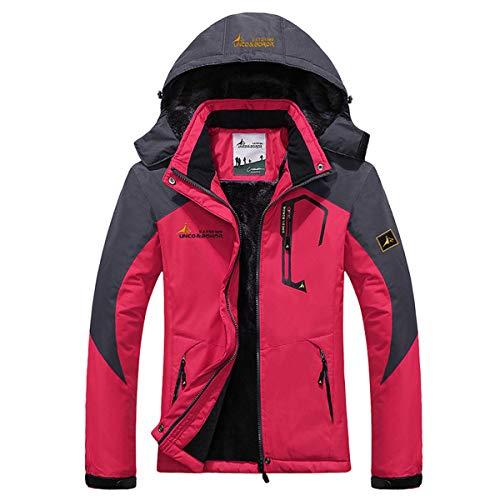 Panegy - Chaqueta Abrigo para Mujer de Invierno Impermeable a prueba a Viento para Esquí Deportes Senderismo de Lana - Rosa - Talla M