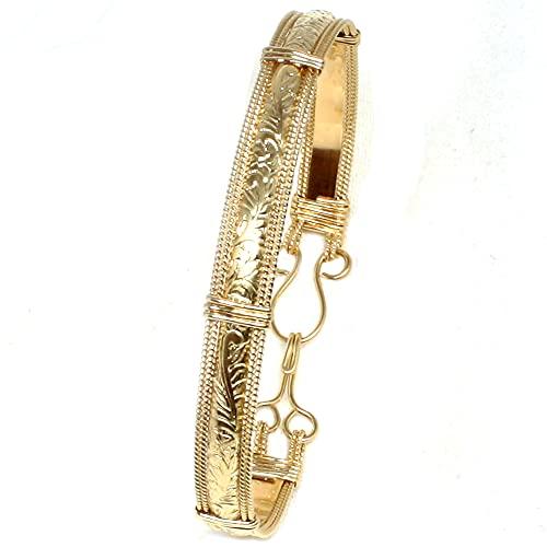 Real 14K Gold Filled Bangle, Handmade Gold Bracelet for Women, Scroll Pattern