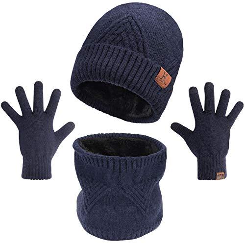 Maylisacc 3Pcs Beanie Handschuhe und Schal Set für Herren, Ski Mütze Männer, Snood und Handschuhe Touchscreen Winter mit Gemischtem Wollfutter Dunkelblau
