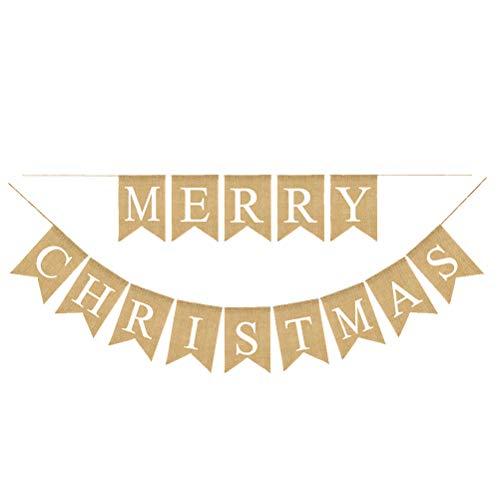 BESTOYARD Buchstaben Bunting Banner Weihnachten Leinen Banner Wimpelkette Party Girlande Merry Christmas