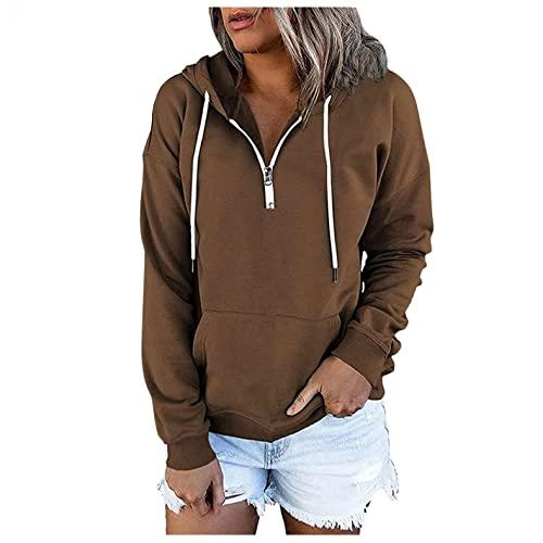 Hoodies for Women Pullover, Womens Casual Zipper Hooded Sweatshirts Pocket Drawstring Long Sleeve Pullover Sweatshirt Brown