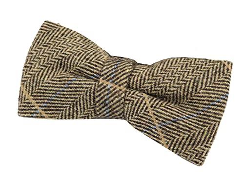 Mens Womens Boys Herringbone Tweed Bow Tie Check Tan Brown Grey Wool - brown One Size