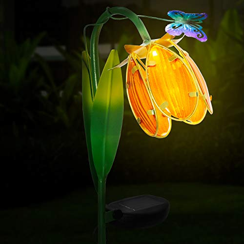 GloBrite Outdoor Lily Butterfly Flower Metal Solar Lights Garden Crackle Glass Globe Stake Lights
