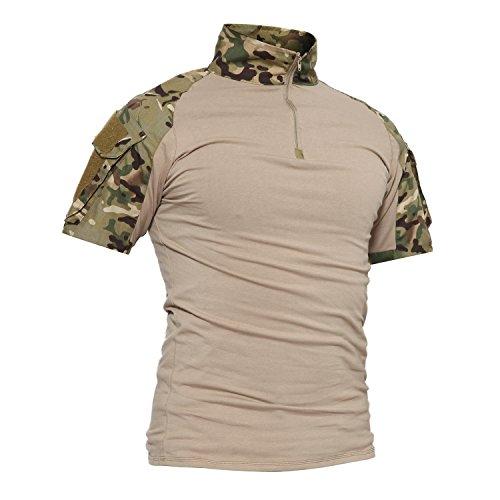 TACVASEN Slim Fit Herren Hemd Kurzarm Military Tactical Airsoft Shirt Camo CP Woodland