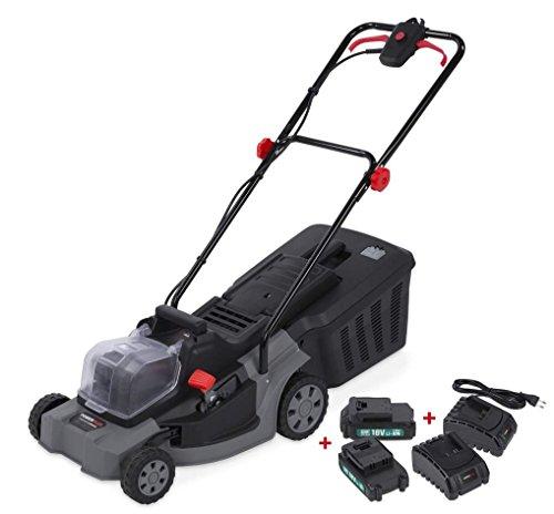 POWER plus Cortacésped eléctrico con batería, 400 mm, 2 baterías de 3000 mAh
