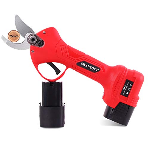 SWANSOFT Electric Pruning Shears with 1 Inch Cutting Diameter, Cordless Pruning Shears, Professional Electric Pruner with 2 Ah Rechargeable Battery