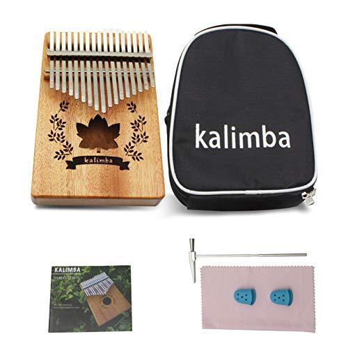 VLVEE Kalimba 17 Teclas, Piano de pulgar con bolsa protectora, Martillo de afinación e instrucciones de estudio, Instrumento musical portátil para regalo Principiantes y Profesionales (17-keys)