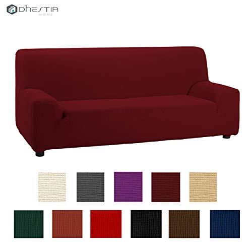 DHestia – bankovertrek elastisch en aanpasbaar met elastomeer, afmetingen van stoel tot bank, Bordeaux, 3-zitsbank – 160/200 cm