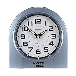 Analog Alarm Clock for Elderly Easy to Set, 5-Inch Simple Stylish Table Clocks Battery Operated Twin Bell Alarm Clock/Night Light/Snooze/Large Numerals/No Ticking, for Living Room Decor