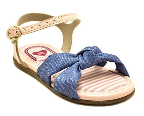 Sandália Menina Molekinha Jeans Azul/Rosa