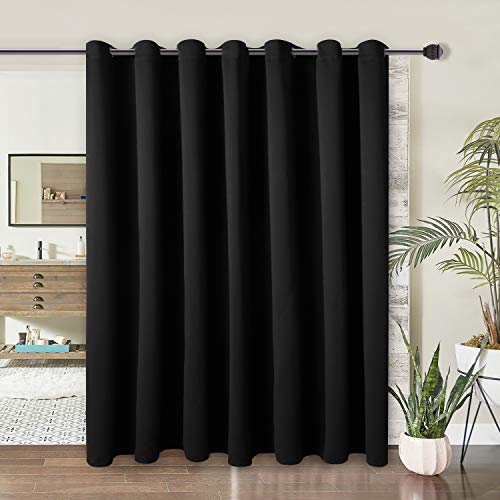 WONTEX Room Divider Curtain - Privacy Blackout Curtains for Bedroom Partition, Living Room and Shared Office, Thermal Insulated Grommet Curtain Panel for Sliding Door, 8.3ft Wide x 7ft Long, Black