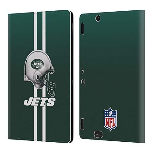 Head Case Designs Oficial NFL Casco Logo de New York Jets Carcasa de Cuero Tipo Libro Compatible con Amazon Kindle Fire HDX 8.9