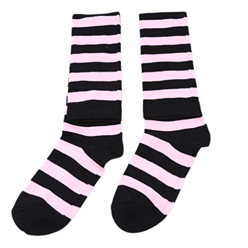LWANFEI Kniehohe Socken Gestreifte Oberschenkel Hohe Strumpf Socken Gekämmte Lässige Socken Geschenke Kleidung Dekoration für Frauen, Rosa