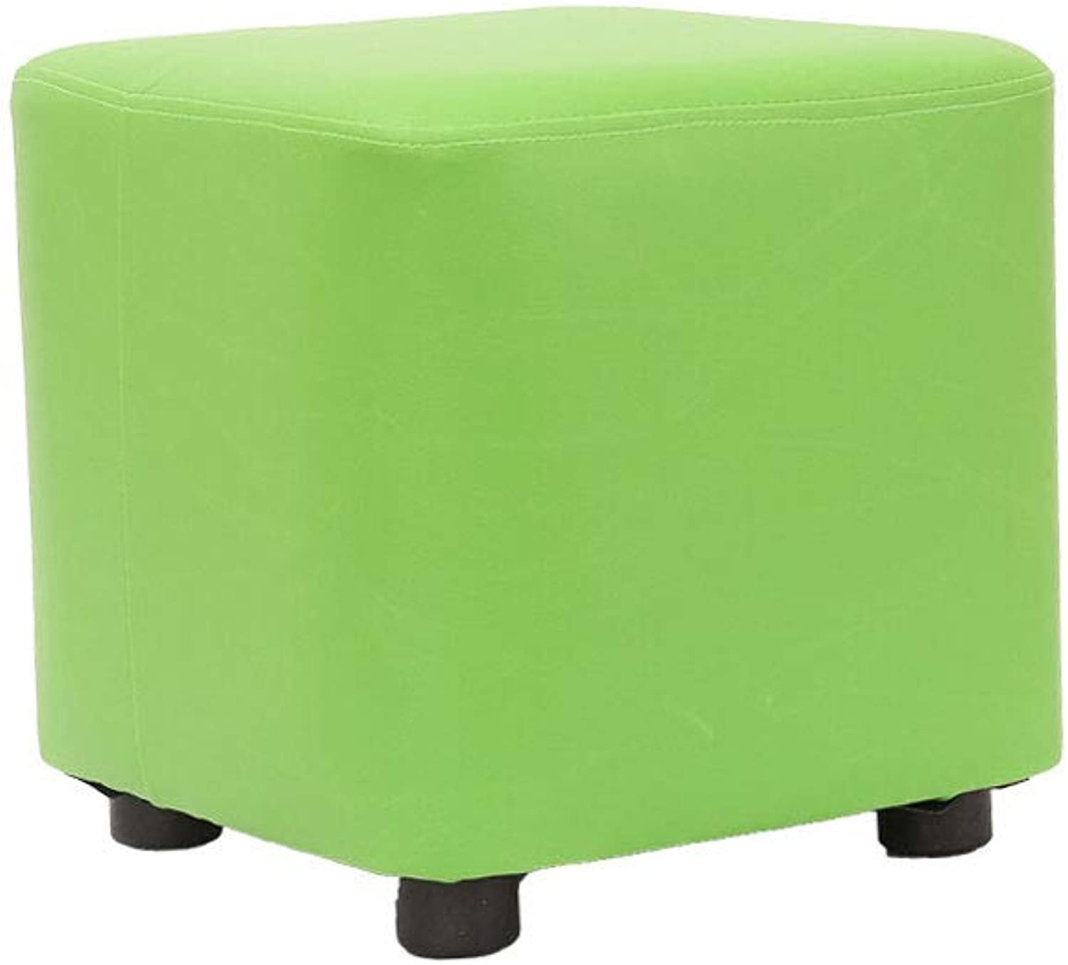 Footstool, Leather Solid Wood Living Room Stool Fashion Creative shoes Bench Sofa Bench Home Small Bench Pier (color   Green)