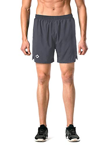 "Naviskin Men's 5"" Quick Dry Running Shorts Workout Athletic Outdoor Shorts Zip Pocket Grey Size M"