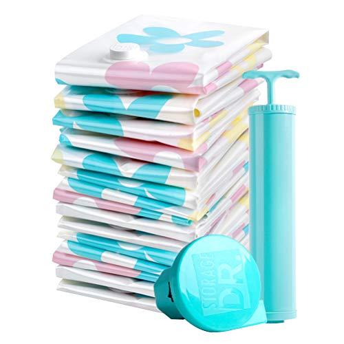 TOPBATHY 11 unidades de bolsas de almacenamiento al vacío, organizador doméstico con bomba de agarre para ropa, almohadas, mantas, mantas (bomba para color aleatorio)
