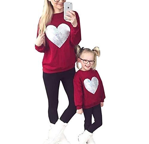 Loalirando Sweat-Shirt Top Haut à Manches Longues Mère et Fille Chic avec Coeur Pailleté Imprimé Rouge, Rouge Mère, S