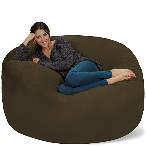 Chill Sack Bean Bag Chair: Giant 5' Memory Foam Furniture Bean Bag - Big Sofa with Soft Micro Fiber Cover - Olive