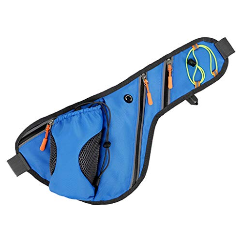 chenpaif Bum Bag, Sports Mobile Phone Large Capacity Waist Pack with Bottle Holder Texture Bum Bag for Travel Sport Outdoor Running Camping Climbing Storage Supplies Blue