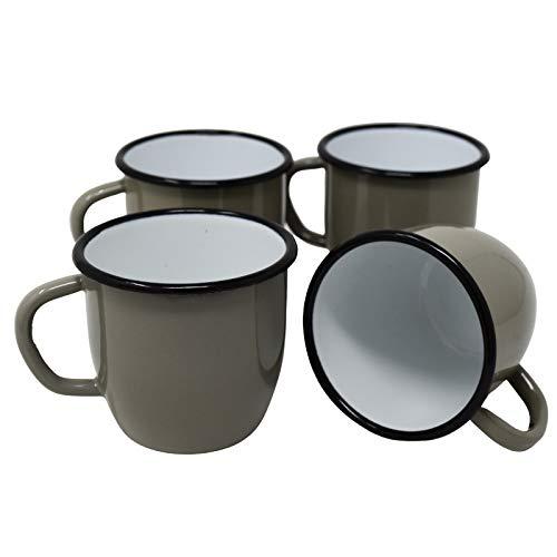 4 tazas de metal esmaltado cónico, color gris, 250 ml