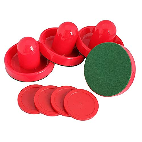 GOSONO Red Air Hockey Pusher Classic Game Air Hockey 4Pcs Table Pucks and 4Pcs Felt Pusher Mallet Grip for Entertainment Table Game