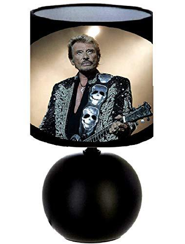 Lampe de chevet JOHNNY HALLYDAY création artisanale. Personnalisé avec le prénom N° 1. (produit Français)