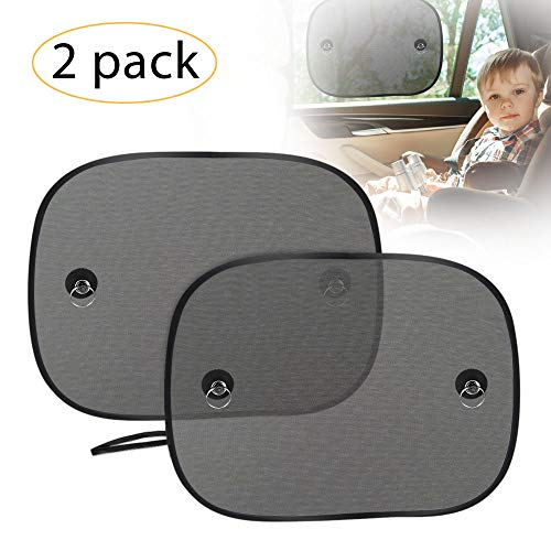 UBEGOOD Car Window Shade, Car Side Window Sun Shade for Baby with Suction Cups, Double-Layer Mesh Sun Block to Protect Kids Pets from Sun/UV Rays, Fits Most Cars/SUVs(2 Pack)