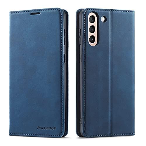 Case Cover, Custodia per portafoglio in pelle multifunzione in vera pelle per Samsung Galaxy S21,2 in 1 Caso da portafoglio a portafoglio magnetico per flip, custodia in fondo a TPU con slot per sched