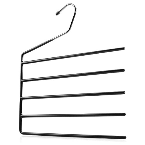HANGERWORLD 3 Chrome 5 Tier Multi Trouser Bar Clothes Coat Garment Hangers Non Slip Arms.