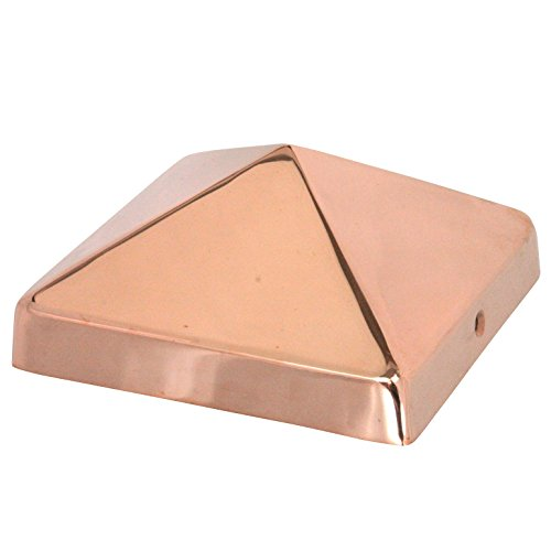 6x6 Copper Pyramid Post Cap by Captiva - Extended Lip - Solid Copper - (5 1/2' x 5 1/2')