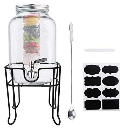 HCCHZR 1 Gallon / 4000ml Clear Mason Jar With Lids, Airtight Glass Jars With Stainless Water Faucet And Ice Cylinder And Jars Holder Perfect For Beer, Sun Tea, Coffee, Coke And Cold Drinks,