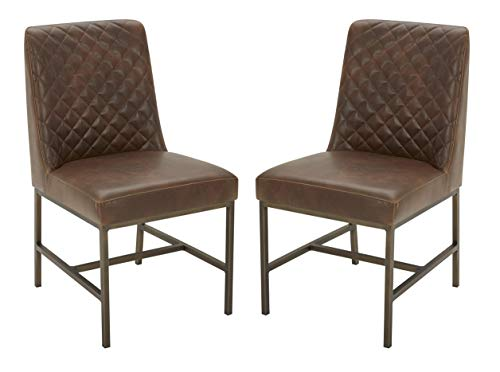Amazon Brand – Rivet Vermont Modern Faux Leather Diamond Accent Dining Chair, 20'W, Set of 2, Brown