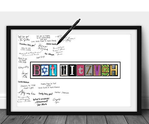 Katie Doodle Bat Mitzvah Decorations - Creative Card or Guest Book Alternative - Great Bat Mitzvah Sign in Board Centerpieces Party Supplies Decor Gifts for Girls - 11x17 Wall Art Poster [Unframed]