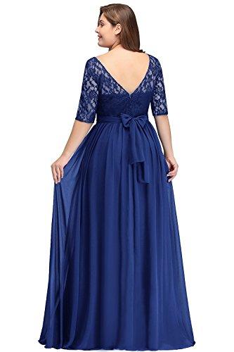Misshow Damen Übergröße Abendkleid Spitze Chiffon mit Ärmel Elegant Lang Ballkleid , Royalblau, 48