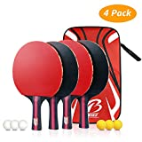 Tencoz 4Pack Set da Ping Pong, Racchette da Ping Pong Set da Ping Pong Racchette da Ping Pong da Allenamento Set da 4 Racchette da Ping Pong Premium + 6 Palline da Ping Pong + 1 Borsa Portatile