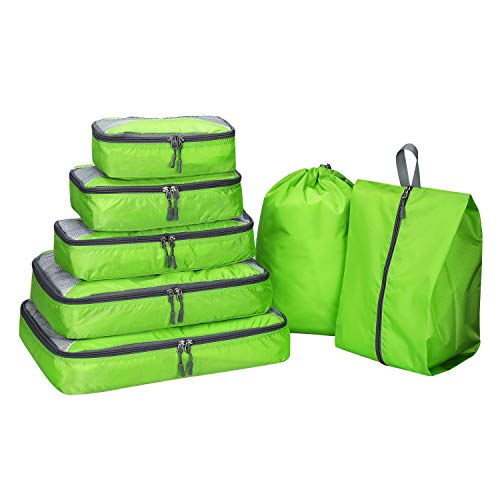 G4Free 7 Set Packing Cubes Travel Luggage Organizers with Shoes Bag Laundry Bag Extra Large(Green)