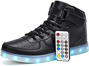 Voovix Kids LED Light Up Shoes USB Charging Flashing High-top Sneakers with Remote Control for Boys and Girls(Black,42)